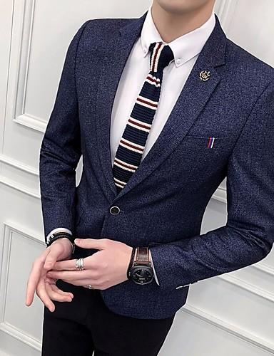 levne Pánské blejzry a saka-Pánské Blejzr, Jednobarevné Klasické klopy Polyester Vodní modrá / Námořnická modř / Béžová