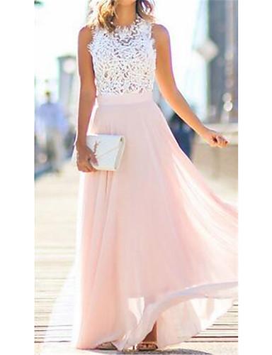 levne Maxi šaty-Dámské Elegantní Šifón Šaty - Barevné bloky Maxi