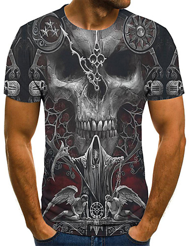 cheap Men's Clothing-Men's Plus Size Geometric 3D Pleated Print T-shirt Street chic Exaggerated Daily Going out Round Neck Gray / Short Sleeve / Skull