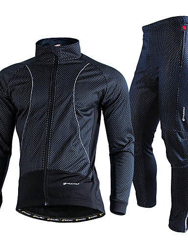 cheap Cycling Jersey & Shorts / Pants Sets-Nuckily Men's Long Sleeve Cycling Jacket with Pants Winter Fleece Lycra Black Solid Color Bike Clothing Suit Thermal Warm Windproof Fleece Lining Breathable Quick Dry Sports Solid Color Mountain Bike