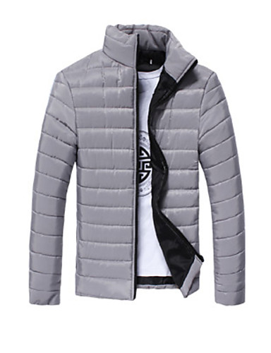 levne Pánské kabáty a parky-Pánské Jednobarevné S vycpávkou, Polyester Černá / Světle šedá / Bílá US32 / UK32 / EU40 / US34 / UK34 / EU42