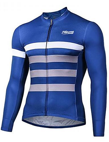 povoljno Biciklističke majice-21Grams Muškarci Dugih rukava Biciklistička majica Blue / Bijela Bicikl Biciklistička majica Majice Brdski biciklizam biciklom na cesti UV otporan Prozračnost Quick dry Sportski Zima 100% poliester