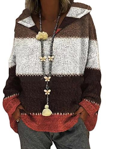 billige Dametopper-Dame Fargeblokk Langermet Pullover Genserjumper, Med hette Lilla / Gul / Blå S / M / L