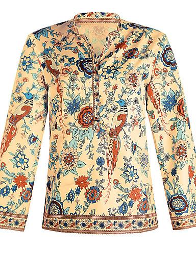 billige Skjorter til damer-Skjorte Dame - Blomstret / Geometrisk, Lapper / Trykt mønster Gatemote Tusenfryd Lilla
