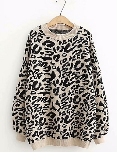 billige Dametopper-Dame Leopard Langermet Tynn Pullover Genserjumper Svart / Lilla / Beige En Størrelse