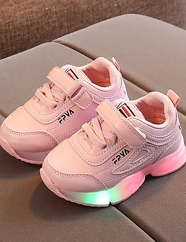 cheap Kid's Led Shoes Hot Sale-Girls' LED / Comfort / Children's Day PU Trainers / Athletic Shoes Little Kids(4-7ys) Running Shoes Luminous White / Black / Pink Fall