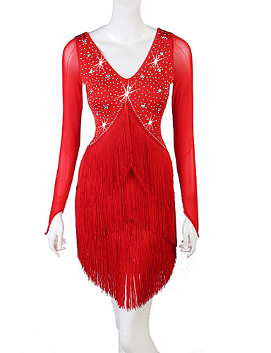 levne Shall We®-Latinské tance Šaty Dámské Výkon Spandex Třásně / Křišťály / Bižuterie Dlouhý rukáv Šaty