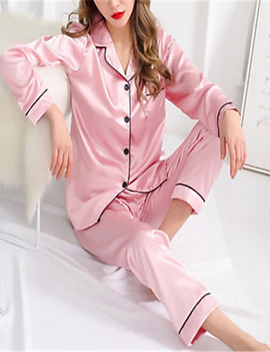 cheap Women's Plus Sizes-Women's Lace Suits Nightwear Solid Colored Wine Light gray White M L XL