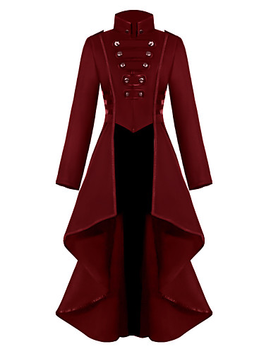 cheap Historical & Vintage Costumes-Plague Doctor Retro Vintage Steampunk Coat Masquerade Tuxedo Women's Costume Black / Green / Red Vintage Cosplay Party Halloween Long Sleeve