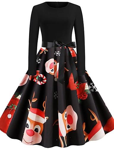 preiswerte Damenkleider in Übergröße-Damen Party Retro Swing Kleid - Druck Kordelzug, Geometrisch Midi Schneeflocke
