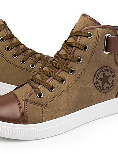 preiswerte Athletische Schuhe für Herren-Herrn Komfort Schuhe PU Frühling Sommer Sneakers Schwarz / Blau / Khaki