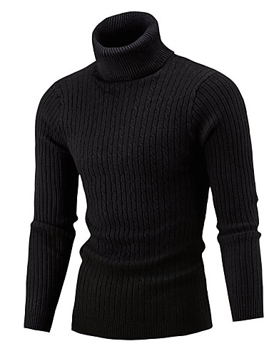 cheap Men's Tops-Men's Color Block Long Sleeve Skinny Pullover Sweater Jumper, Turtleneck Winter Wine / White / Black US32 / UK32 / EU40 / US34 / UK34 / EU42 / US36 / UK36 / EU44
