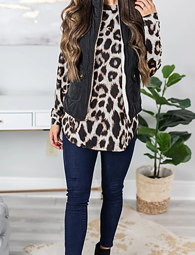billige Dametopper-T-skjorte Dame - Leopard Grunnleggende Hvit