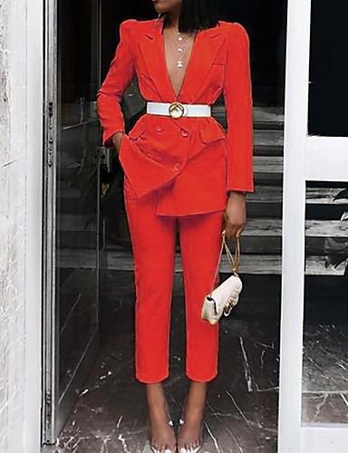 preiswerte Anzüge-Damen Anzüge Gekerbtes Revers Polyester Gelb / Rote