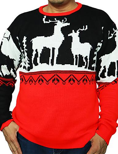 preiswerte Weihnachten-Herrn Geometrisch Langarm Pullover Pullover Jumper, Rundhalsausschnitt Schwarz US34 / UK34 / EU42 / US36 / UK36 / EU44 / US38 / UK38 / EU46