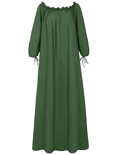 levne Maxi šaty-Dámské Cikánský Šik ven Swing Šaty - Jednobarevné, Volná záda Maxi
