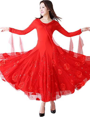 levne Shall We®-Standardní tance Šaty Dámské Výkon / Téma Party Terylen / Süt Filtresi Aplikace / Výšivka / Krajkou zdobená spodní část Dlouhý rukáv Přírodní Šaty