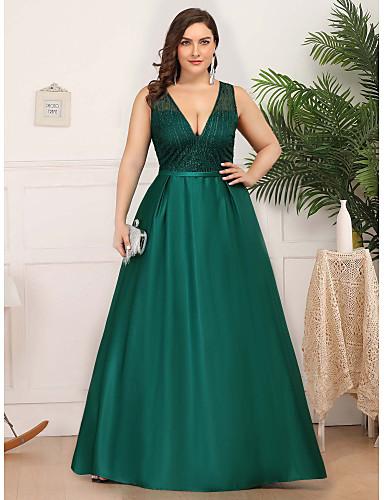 preiswerte Abendkleider-A-Linie Tiefer Ausschnitt Boden-Länge Satin / Tüll Abiball / Formeller Abend Kleid mit durch LAN TING Express