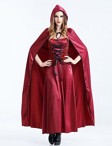 preiswerte Spielzeug & Hobby Artikel-Rotkäppchen Kleid Cosplay Kostüme Umhang Party Kostüme Erwachsene Damen Cosplay Halloween Halloween Fest / Feiertage Baumwolle / Polyester Mischung Rote Damen Karneval Kostüme