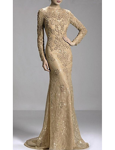 cheap Special Occasion Dresses-Mermaid / Trumpet Luxurious Gold Engagement Formal Evening Dress Jewel Neck Long Sleeve Sweep / Brush Train Lace with Beading Appliques 2020