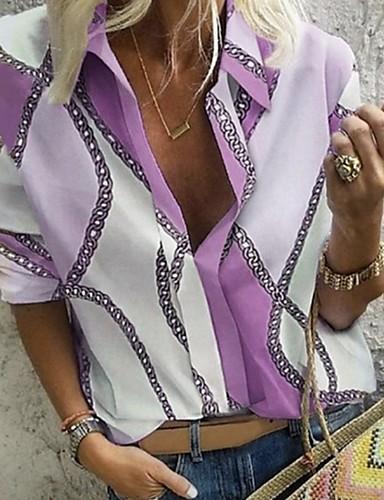 billige Skjorter til damer-Skjorte Dame - Geometrisk Lilla