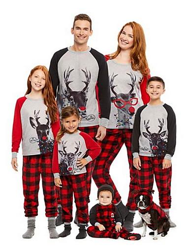 preiswerte Sexy Weihnachten-Damen Rundhalsausschnitt Anzüge Pyjamas Verziert