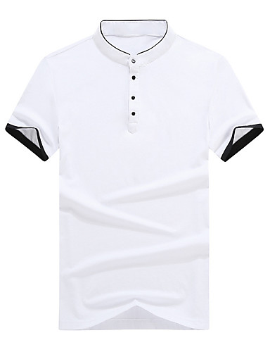 levne Pánská polo trika-Pánské - Jednobarevné Polo Bavlna Černá