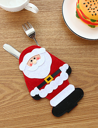 preiswerte Weihnachten Küche-1 stück weihnachtsstrumpf taschen esstisch messer gabel halter weihnachtsmann weihnachtsdekoration party supplies