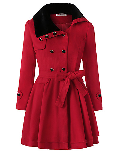 cheap Women's Outerwear-Women's Daily Basic Fall & Winter Long Trench Coat, Solid Colored Rolled collar Long Sleeve Acrylic / Polyester Patchwork Black / Red / Navy Blue