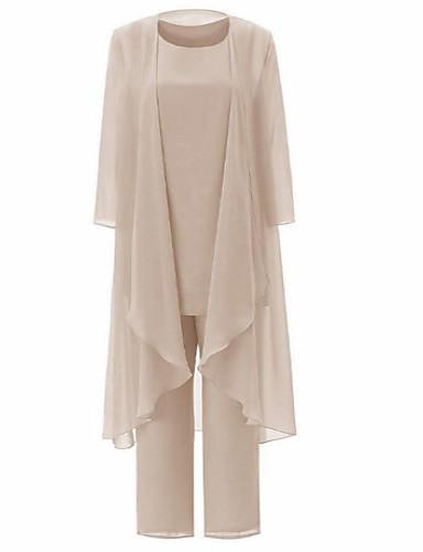 povoljno Wrap Dresses-Dvodijelni kroj / Pantsuit Ovalni izrez Do gležnja Šifon Haljina za majku mladenke s Nabori po LAN TING Express / Wrap Included