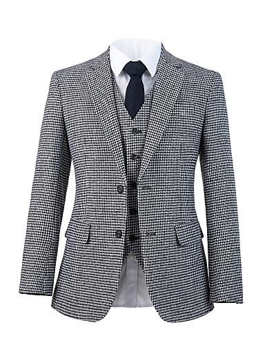 preiswerte Herren Überbekleidung in Übergröße-grauer Anzug aus Tweedwolle mit Hahnentrittmuster