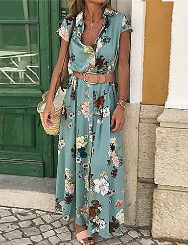 cheap Blue Dresses-Women's Maxi Slim Sheath Dress V Neck Cotton Light Blue Purple Yellow S M L XL