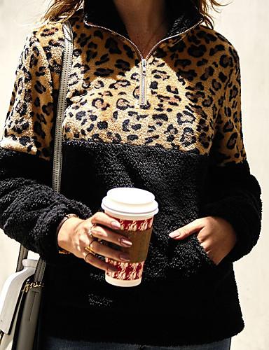 billige Dametopper-Dame Fritid Genser Leopard