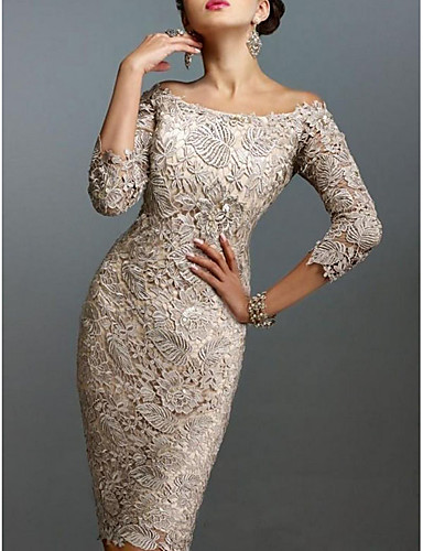 cheap Cocktail Dresses-Sheath / Column Elegant Holiday Cocktail Party Dress Off Shoulder 3/4 Length Sleeve Knee Length Lace with 2020