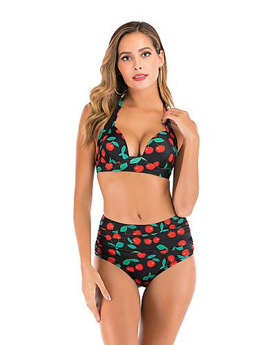 billige Bikinier og damemote-Dame Grunnleggende Svart Hvit Bandeau Høy Midje Bikini Badetøy - Frukt S M L Svart
