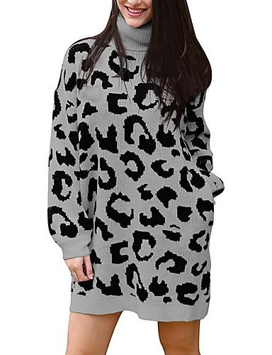 billige Dametopper-Dame Leopard Langermet Pullover Genserjumper, Rullekrage Svart / Vin / Grå S / M / L