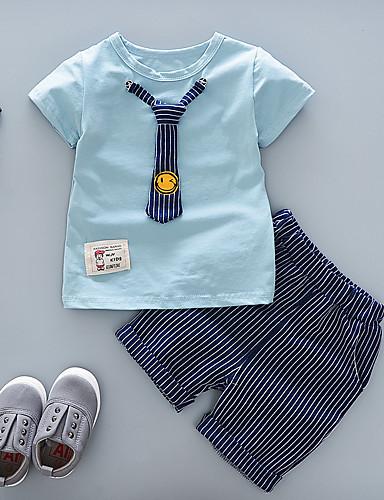 preiswerte Babykleidung Jungen-Baby Jungen Grundlegend Blau & Weiß Gestreift / Solide Patchwork Kurzarm Standard Standard Kleidungs Set Weiß