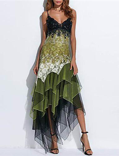 levne Maxi šaty-Dámské Elegantní Krajka Pouzdro Šaty - Geometrický, Tisk Asymetrické Ramínka