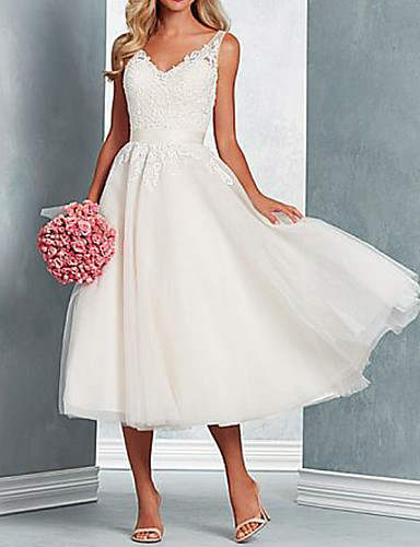 cheap Wedding Dresses-A-Line V Neck Midi Tulle Regular Straps Wedding Dresses with Bow(s) / Lace Insert 2020