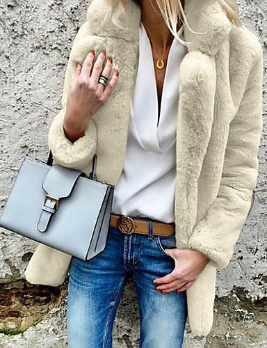 levne Dámské kabáty a trenčkoty-Dámské Denní Podzim zima Standardní Kabát, Jednobarevné Přehnutý Dlouhý rukáv Polyester Světle šedá / Bílá / Světlá růžová