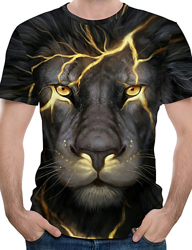 cheap Men's Plus Sizes-Men's Plus Size Graphic Animal Print T-shirt Street chic Exaggerated Daily Holiday Round Neck Black / Blue / Purple / Red / Green / Summer / Short Sleeve