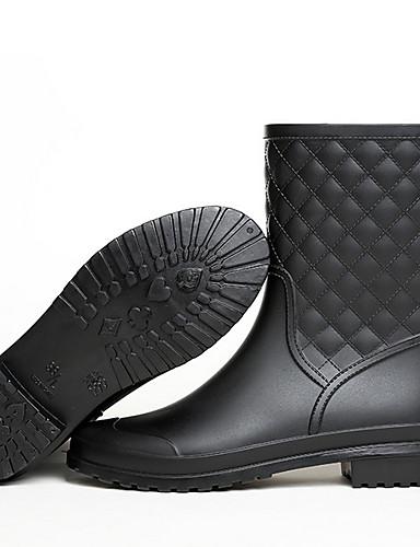preiswerte Damen Stiefel-Damen Stiefel Regenstiefel Flacher Absatz Runde Zehe PU Mittelhohe Stiefel Herbst Winter Schwarz / Grau