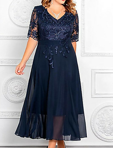 cheap Mother of the Bride Dresses-A-Line Mother of the Bride Dress Elegant Plus Size V Neck Ankle Length Chiffon Sequined Half Sleeve with Appliques 2020