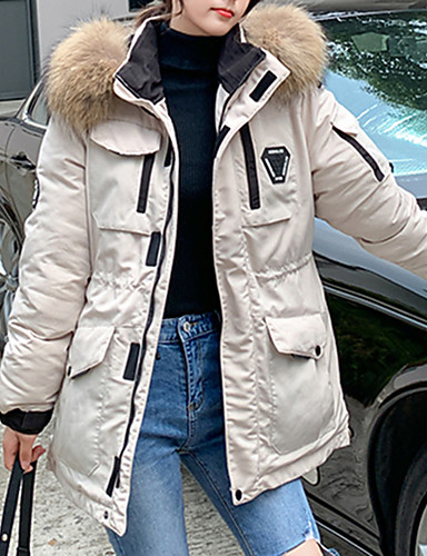 preiswerte Modische Kleidung-Damen Solide Standard Daunenjacke, Polyester / POLY Schwarz / Wein / Weiß M / L / XL