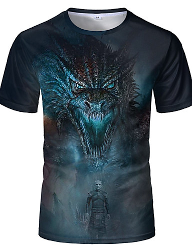 preiswerte Oberteile-Herrn 3D T-shirt Blau