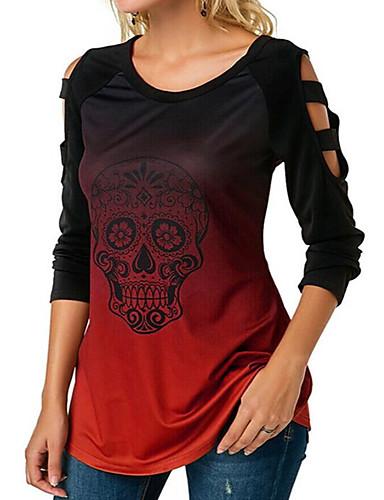 Women's Halloween Daily Basic / Street chic T-shirt - Skull / Tie Dye Patchwork Light Blue