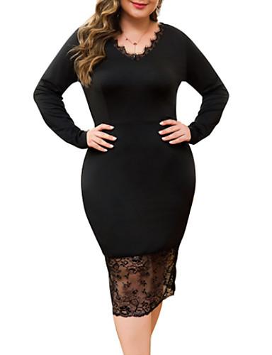 levne Šaty velkých velikostí-Dámské Základní Elegantní Pouzdro Šaty - Jednobarevné, Krajka Délka ke kolenům