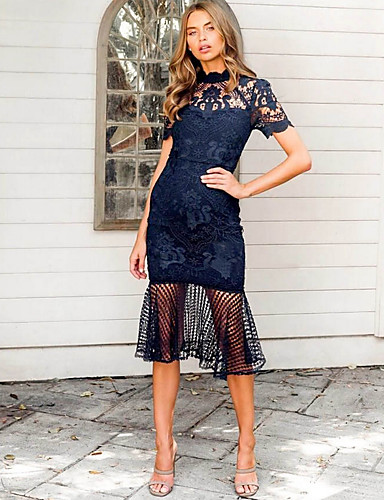 cheap Romantic Lace Dresses-Women's Sheath Dress - Solid Colored Lace Blue S M L XL