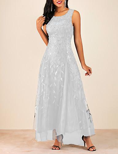 levne Maxi šaty-Dámské A Line Šaty - Květinový Maxi