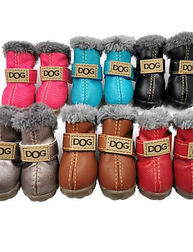 preiswerte BUY3GET20%OFF-MixBuy-Hund Schuhe und Stiefel Schneestiefel Wasserdicht warm halten Modisch Solide Für Haustiere PU-Leder Velourleder Fasergemisch Schwarz / Winter